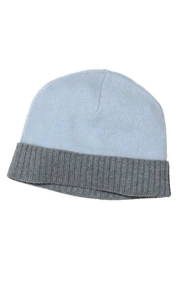 Lingfield Cashmere Beanie In Soft Blue And Grey