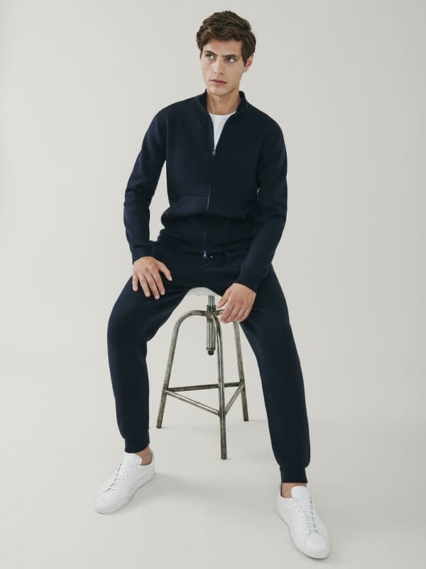 Cooper Cashmere and Merino Zip Up Sweatshirt - Navy