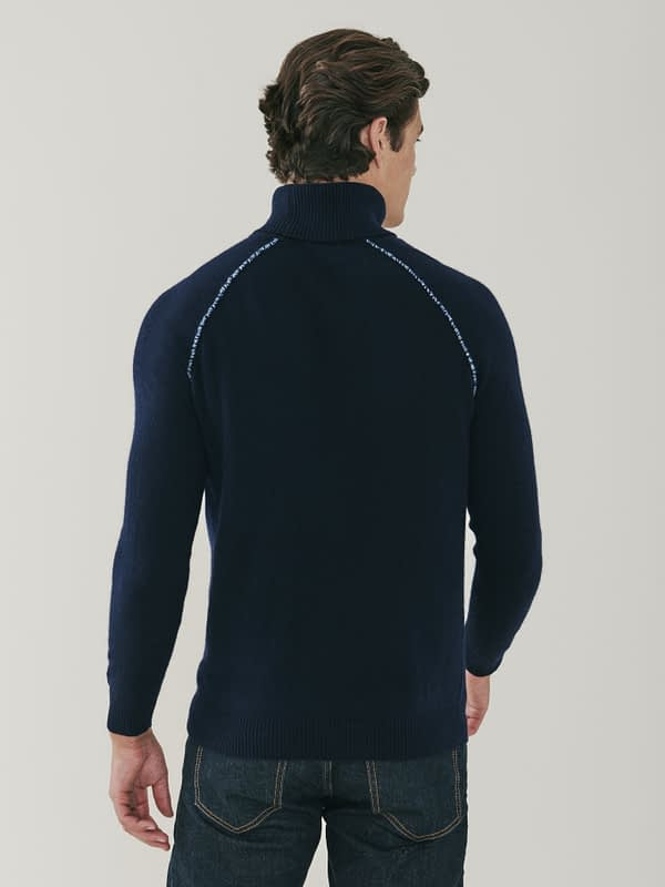 Mayfair Detail Cashmere Roll Neck Sweater - Navy