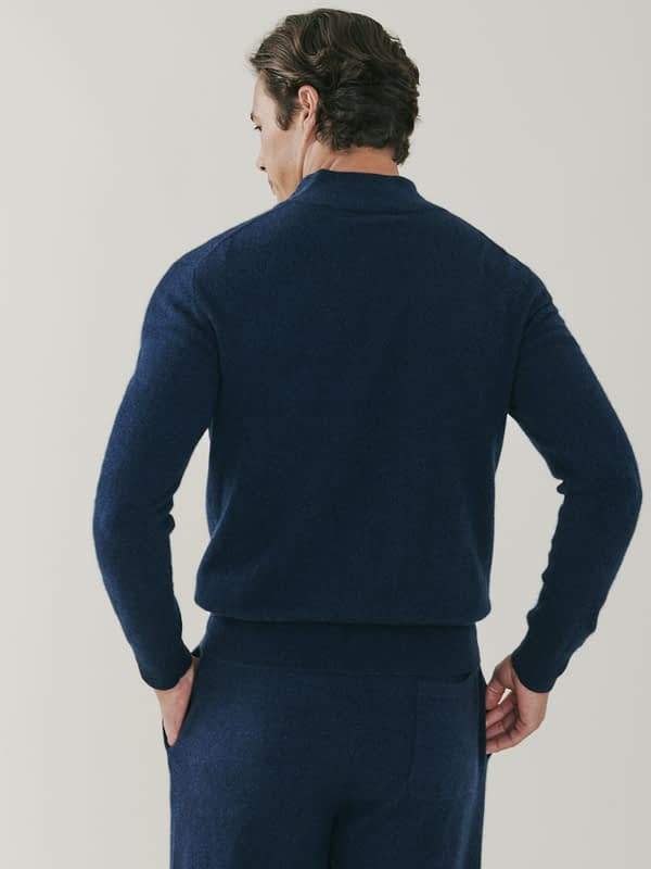 Carnaby Cashmere Zip Up Cardigan - Navy