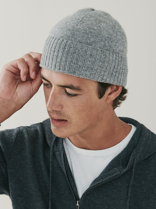 Powder Cashmere Ribbed Beanie - Grey