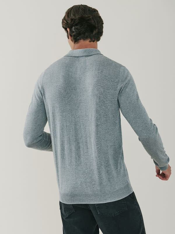 Cascade Silk and Cashmere Blend Polo Shirt - Birch Grey