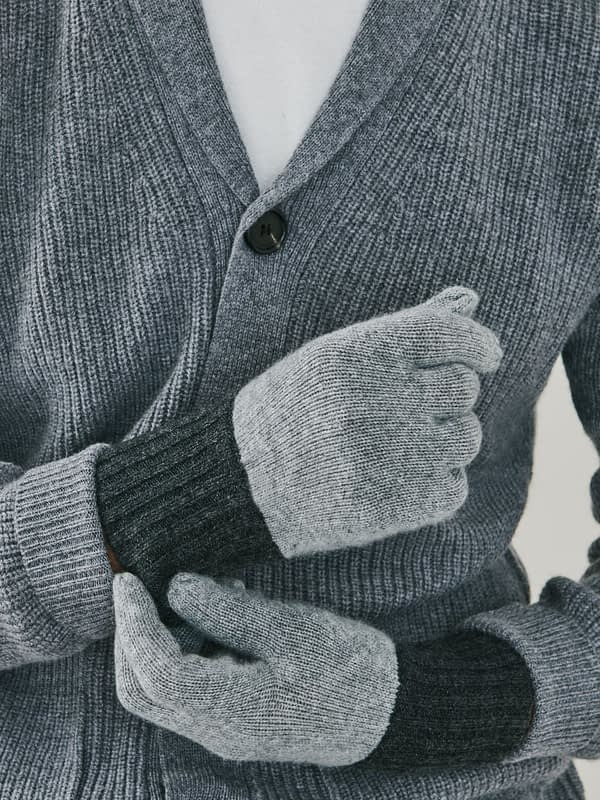 Elba Contrast Cashmere Gloves - Grey & Charcoal