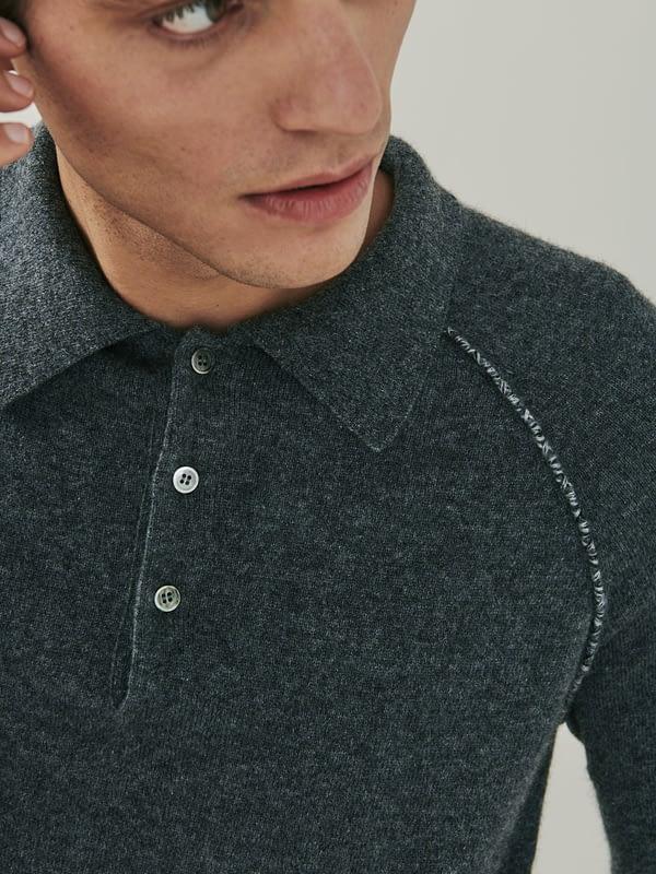 Regent Detail Cashmere Polo Shirt - Charcoal Grey
