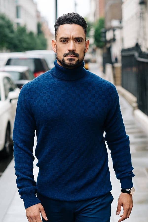 GRANT - Blue basket weave rollneck