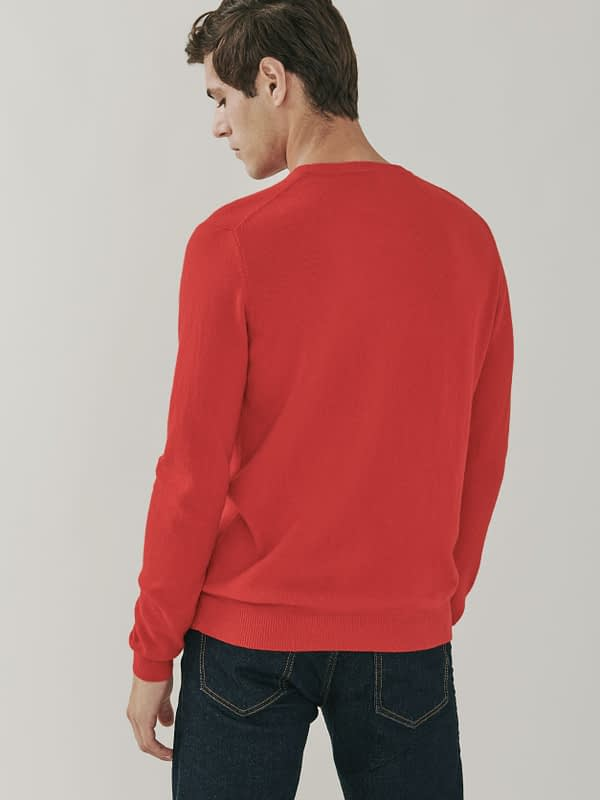 Canyon Cashmere Crew Neck Sweater - Berry Red