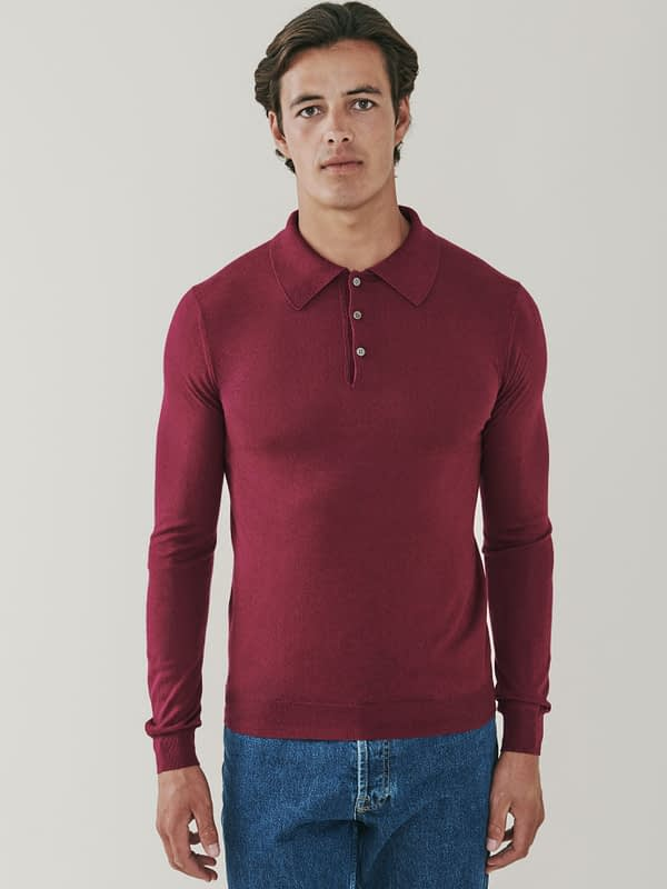 Cascade Silk and Cashmere Blend Polo Shirt - Maroon