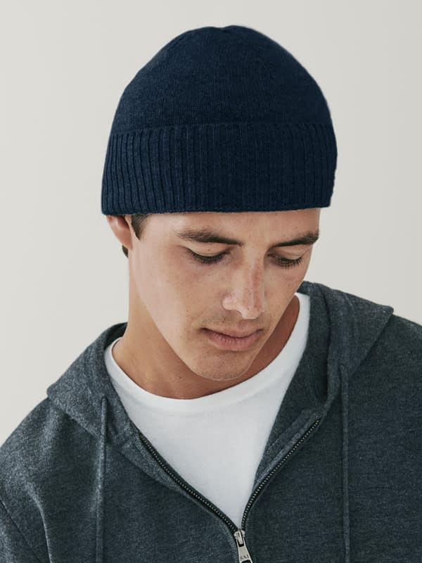 Powder Cashmere Ribbed Beanie - Navy