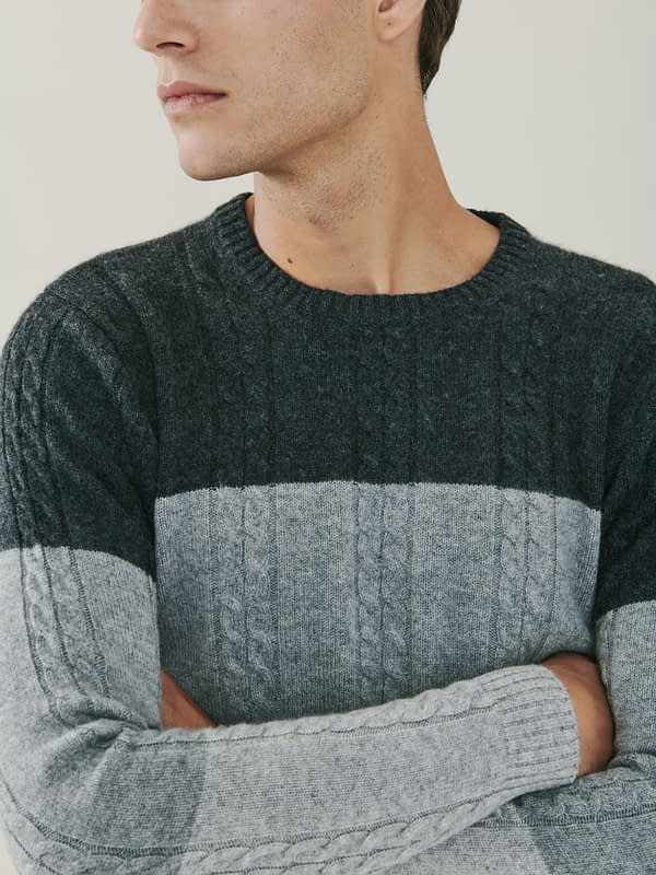Vail Cashmere Tonal Cable Knit Sweater - Grey
