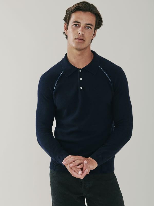 Regent Detail Cashmere Polo Shirt - Navy