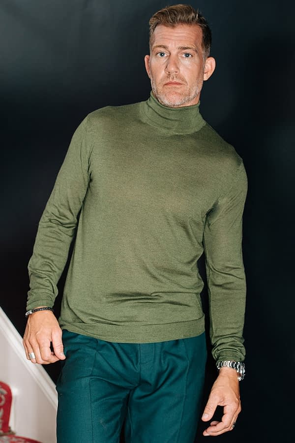 CAINE - Silk and Cashmere Blend Rollneck Sweater - Olive