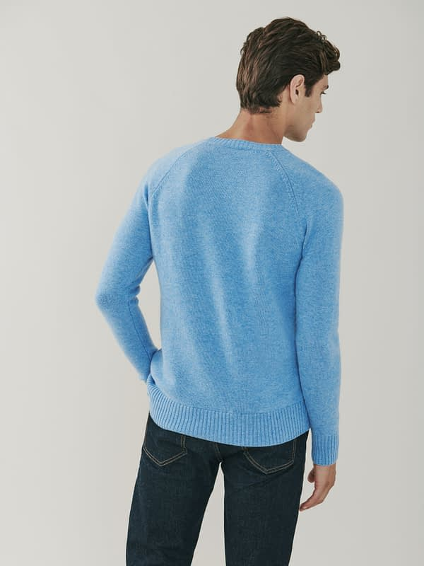 Sunday Cable Knit Cashmere and Merino Sweater - Soft Blue