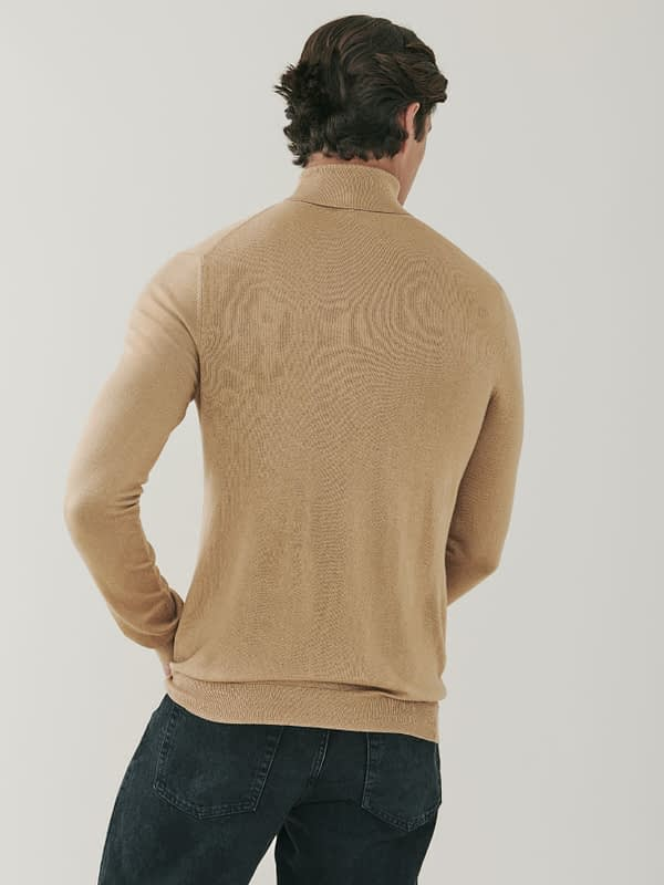 Piccadilly Silk and Cashmere Roll Neck Sweater - Camel
