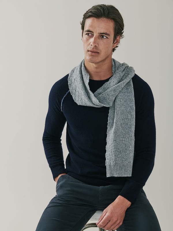 Flynn Cashmere Basket Weave Scarf - Grey
