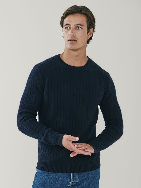 Afton Cashmere Cable Knit Sweater - Dark Navy