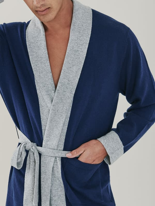 Stow Bathrobe - Navy Blue