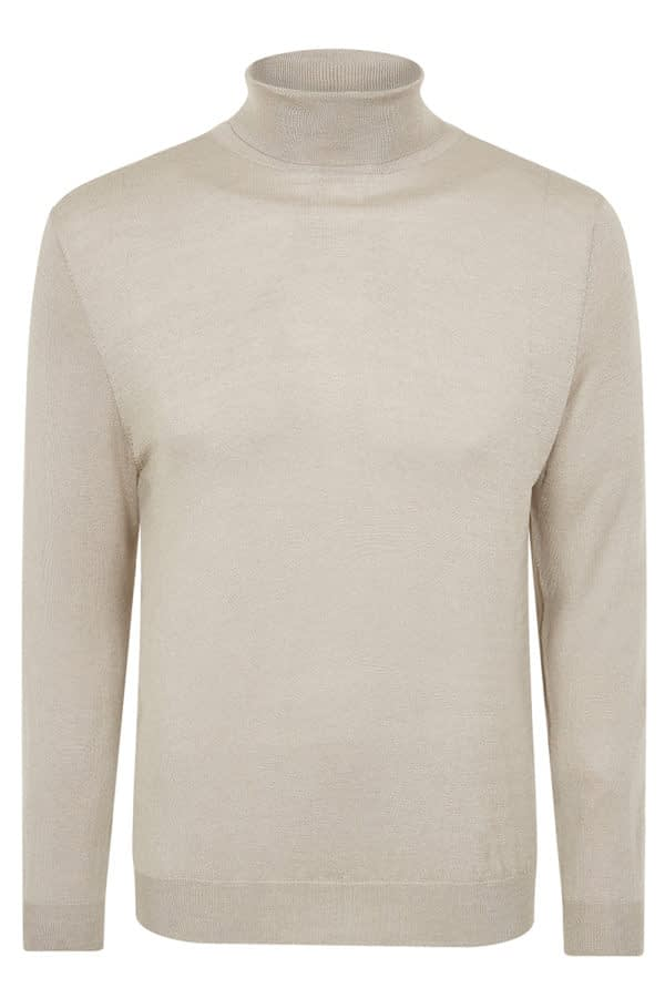 CAINE - Cashmere and Silk Blend Rollneck Sweater - Beige