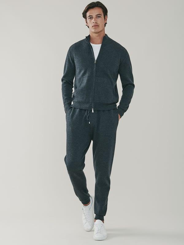 Cooper Cashmere and Merino Zip Up Sweatshirt - Grey