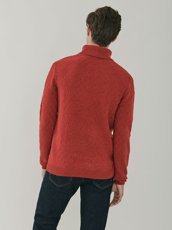 Jackson Basket Weave Cashmere Roll Neck Sweater - Russet
