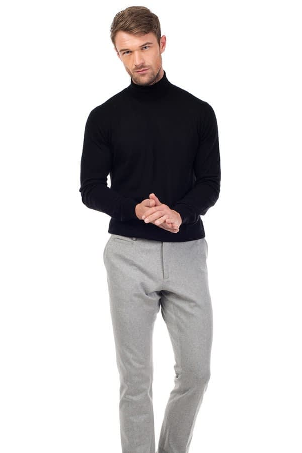 CAINE - Silk and Cashmere Blend Rollneck Sweater - Black