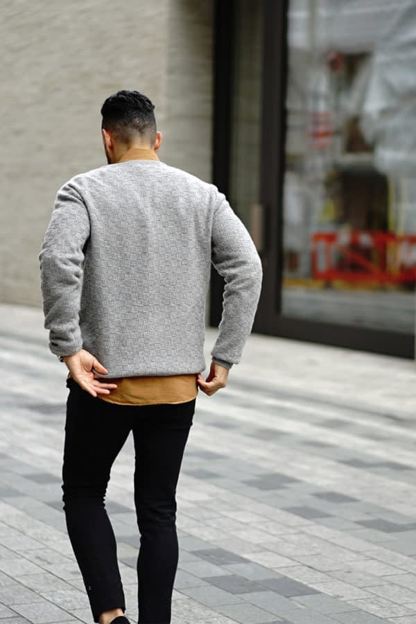 NEWMAN – Cashmere basket weave soft grey crew neck