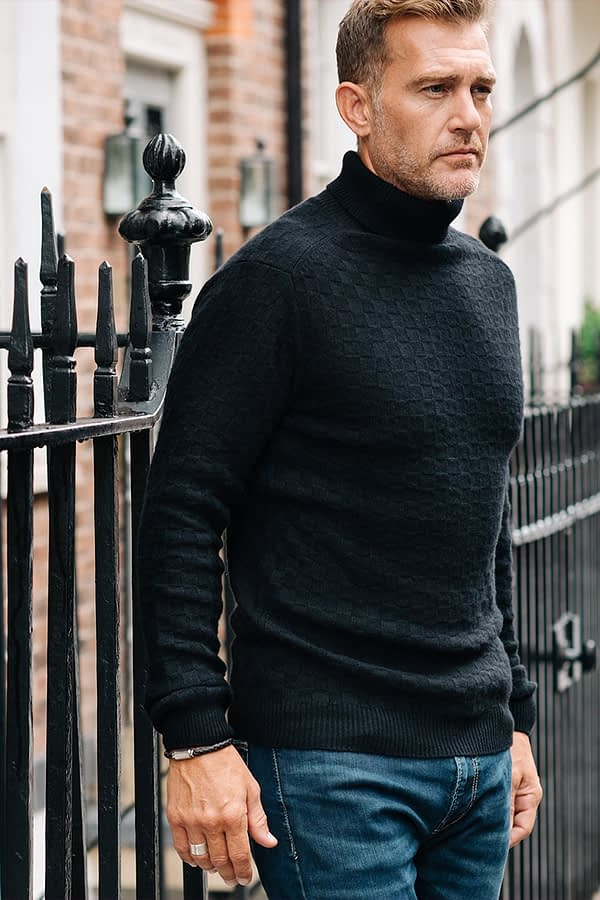 black rollneck sweater