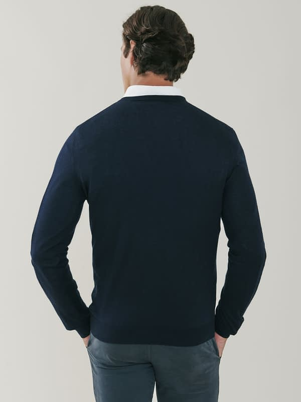 Pitt Cashmere and Silk V Neck Sweater - Dark Navy