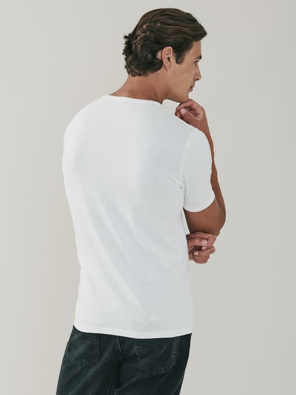 Ark Cotton and Cashmere T Shirt - Chalk