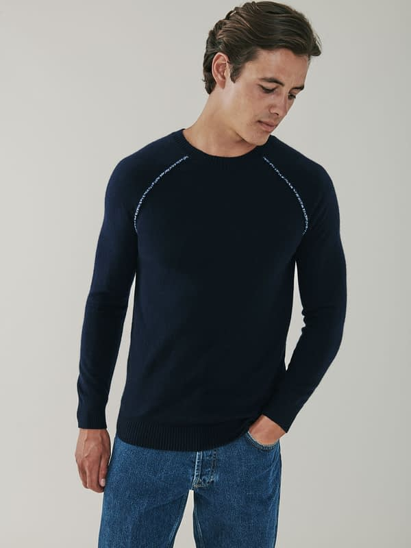 Sloane Detail Cashmere Sweater - Navy