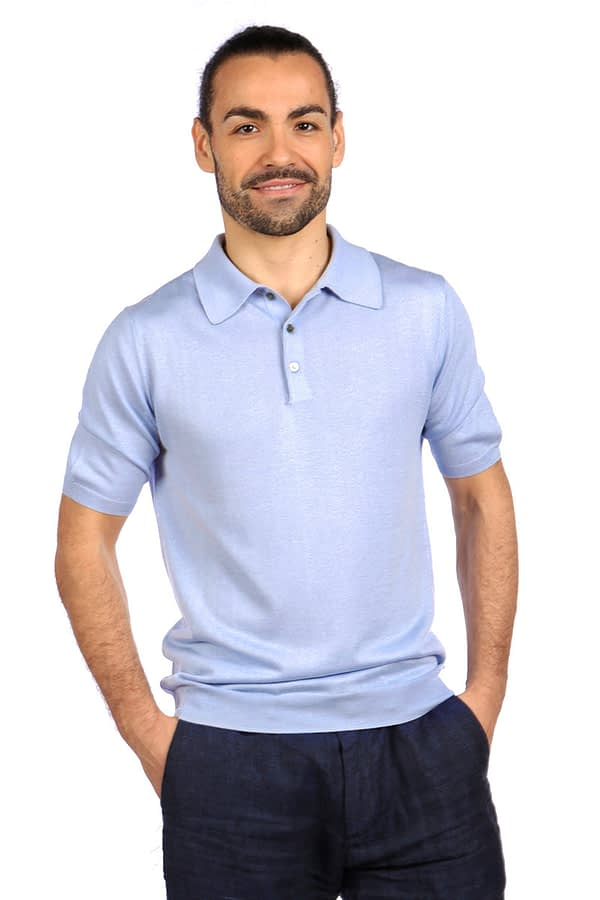 Shoal Silk Blend Polo Shirt - Summer Blue