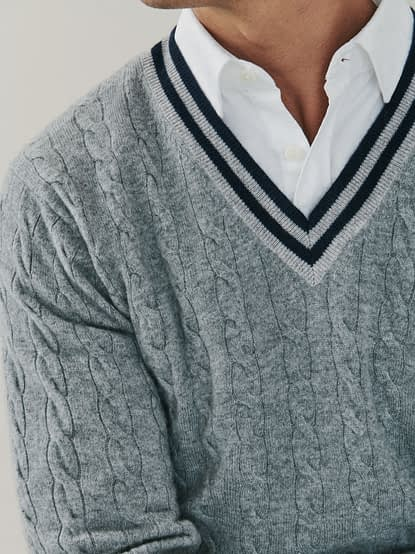 Harvard | Cable Cashmere V Neck Neck Sweater in Heather Grey | Mr Quintessential