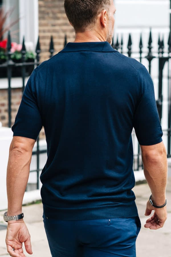 Shoal Silk Blend Polo Shirt - Navy