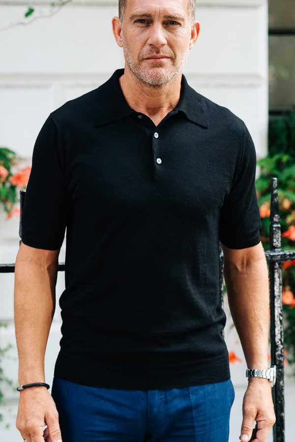 Shoal Silk Blend Polo Shirt - Black