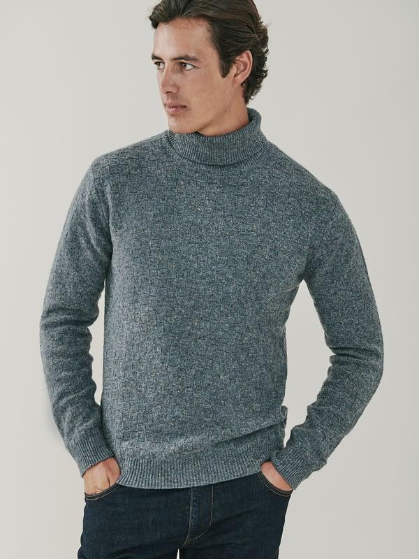 Jackson Basket Weave Cashmere Roll Neck Sweater - Dark Grey