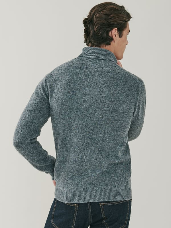 Jackson Basket Weave Cashmere Roll Neck Sweater - Dark Grey
