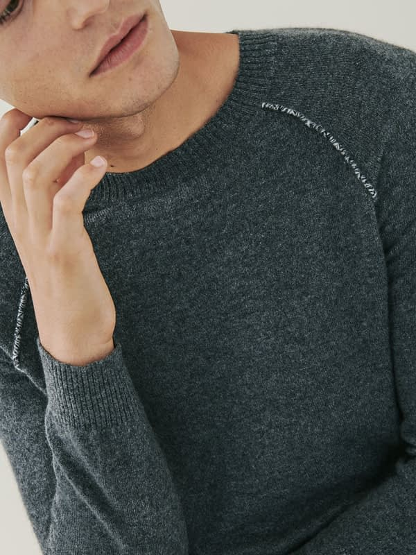 Sloane Detail Cashmere Sweater - Charcoal Grey