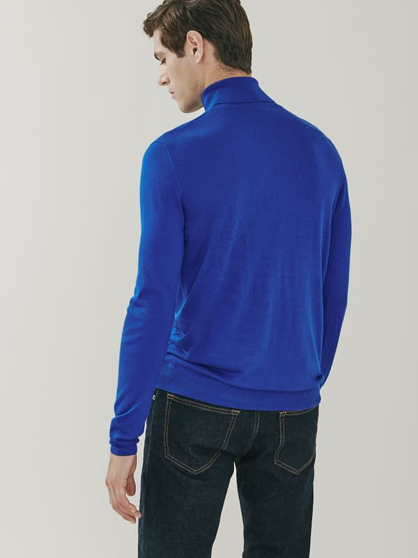 Piccadilly Silk and Cashmere Roll Neck Sweater - Royal Blue
