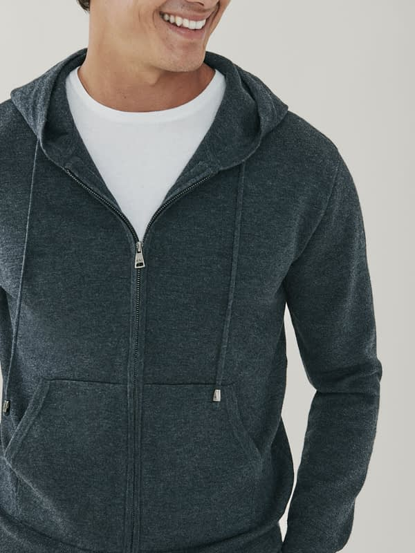 Maverick Cashmere and Merino Zip Up Hoodie - Grey