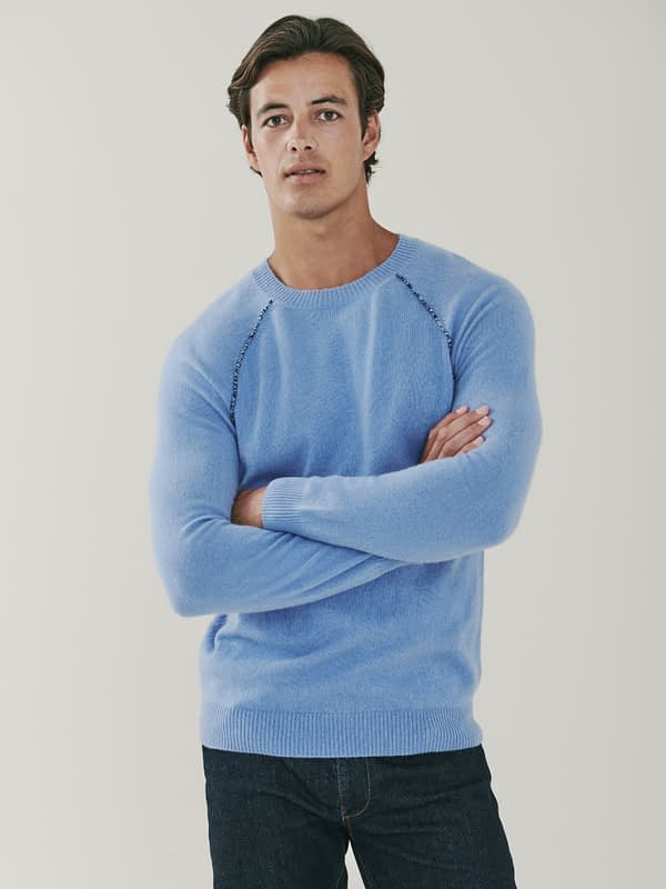 Sloane Detail Cashmere Sweater - Soft Blue