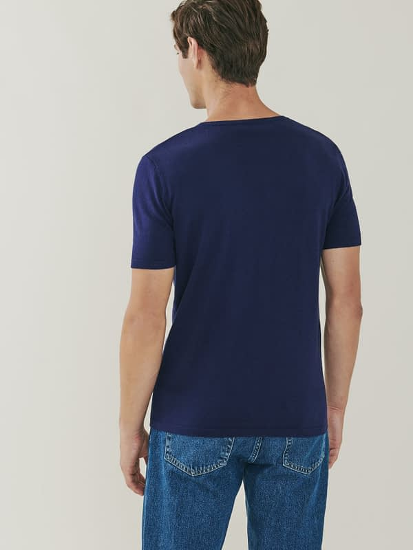 Ark Cotton and Cashmere T Shirt - Blue