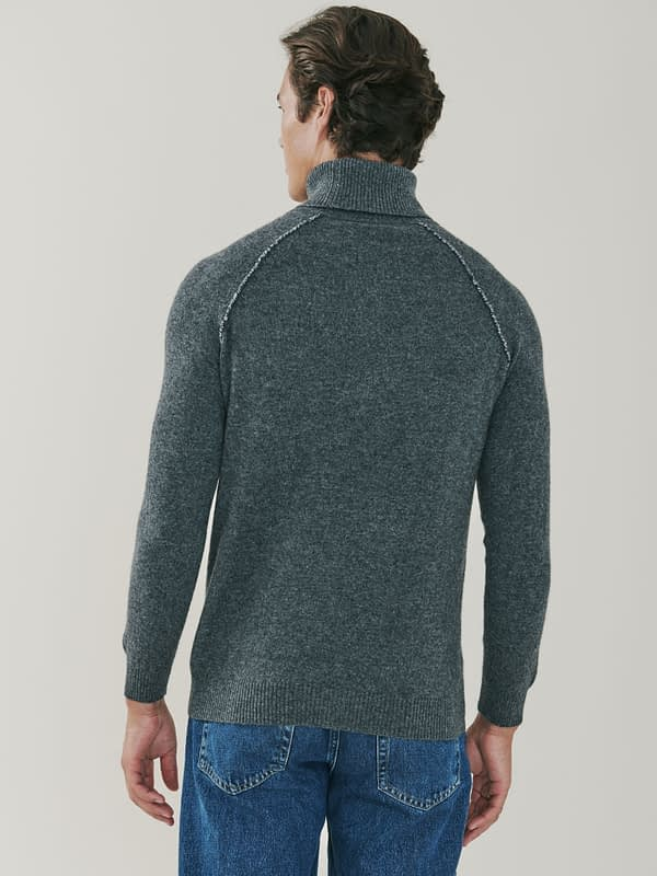 Mayfair Detail Cashmere Roll Neck Sweater - Charcoal Grey