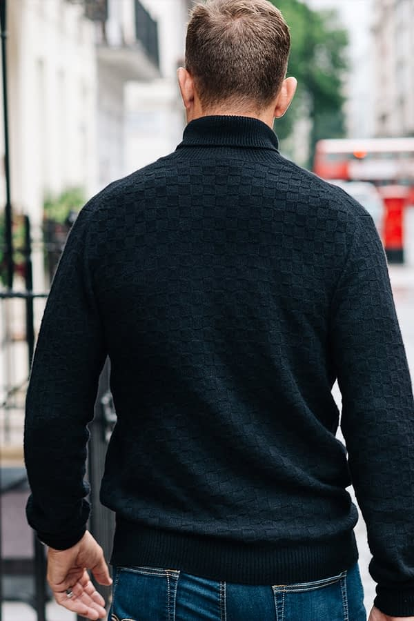 GRANT - Black basket weave rollneck