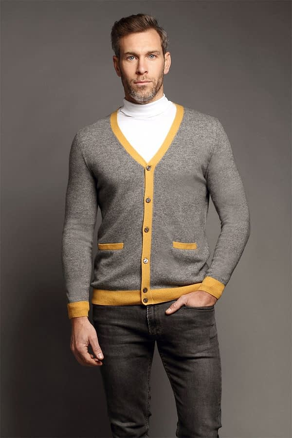 Poplar Light Grey & Yellow Cardigan