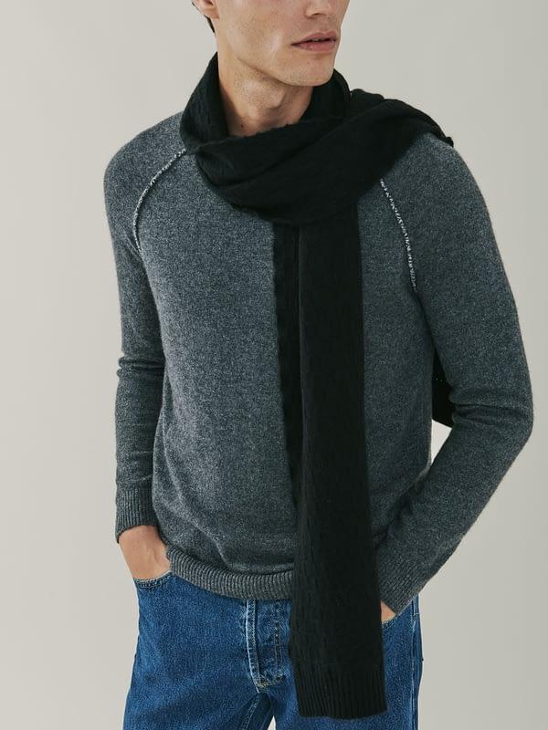 Flynn Cashmere Basket Weave Scarf - Black