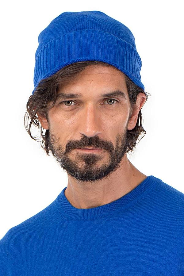 Powder Cashmere Beanie - Azure Blue