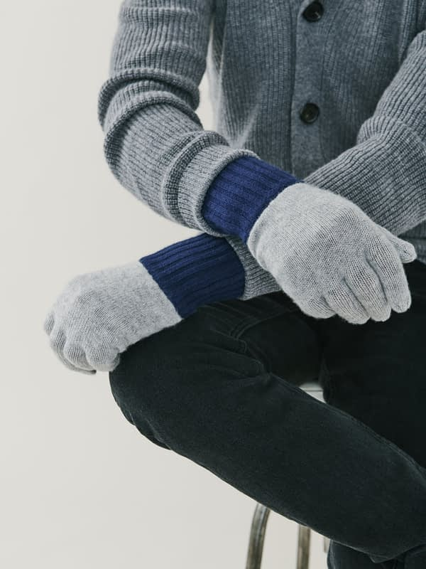 Elba Contrast Cashmere Gloves - Grey & Navy