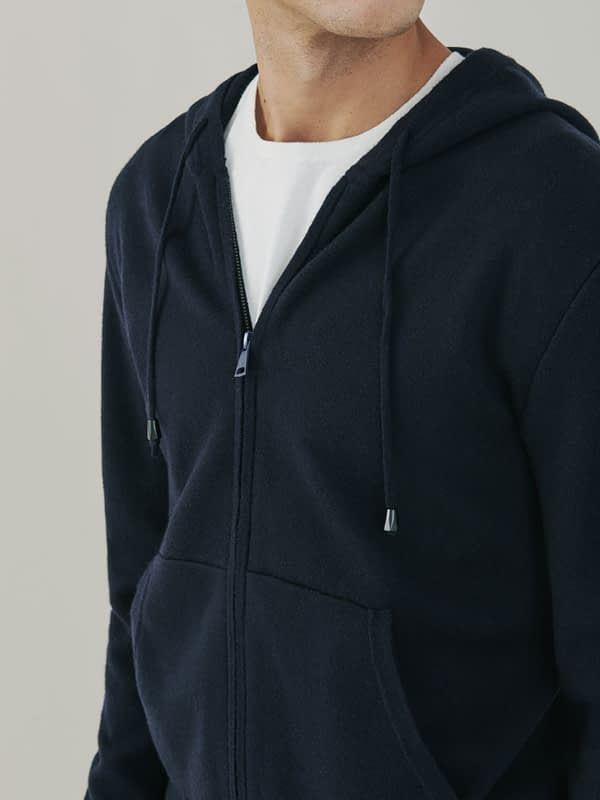 Maverick Cashmere and Merino Zip Up Hoodie - Navy