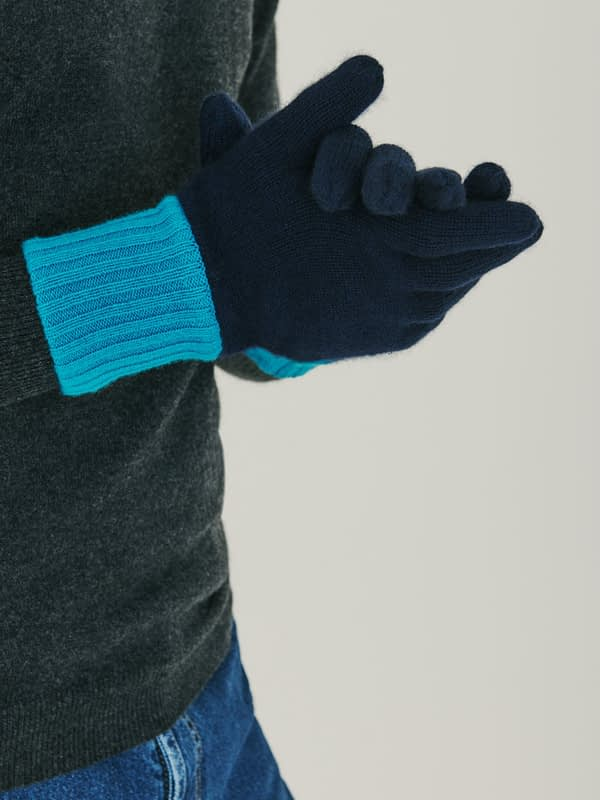 Elba Contrast Cashmere Gloves - Navy & Turquoise