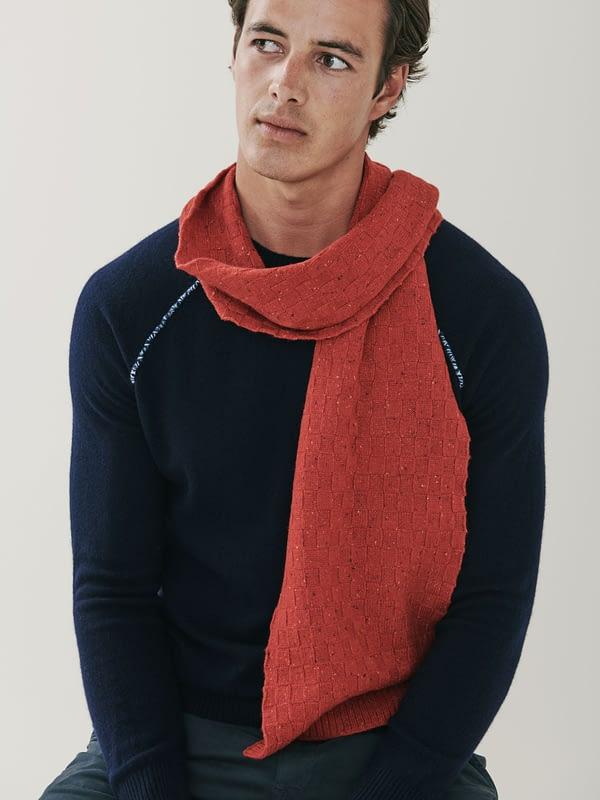 Wisp Cashmere Basket Weave Scarf - Russet Red