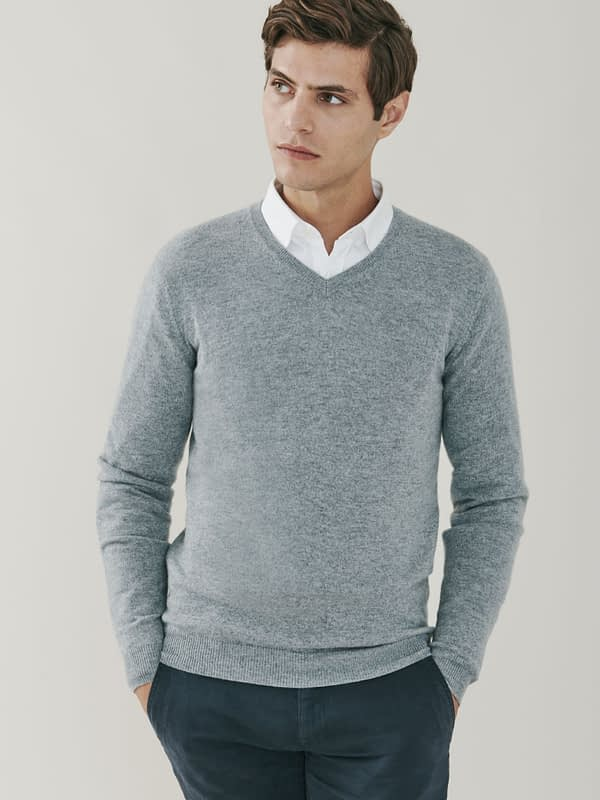 Killington Cashmere V Neck Sweater - Birch Grey
